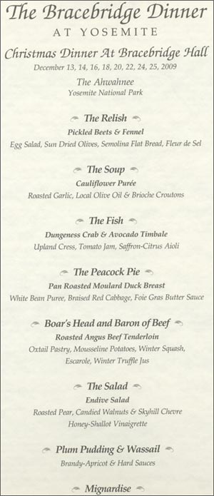 Bracebridge Dinner Menu