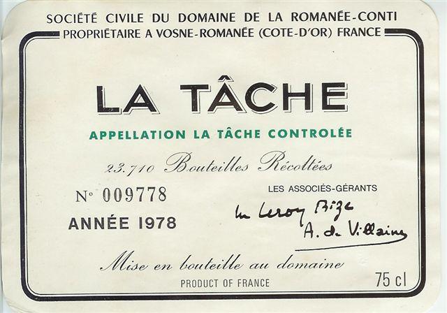 1978 Domaine de la Romanée Conti La Tache