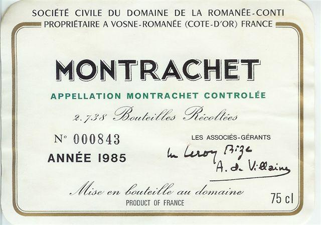 1985 Domaine de la Romanée Conti Montrachet