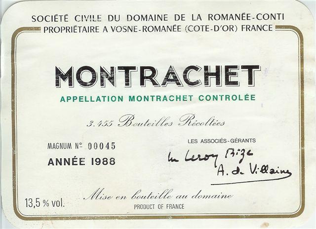 1988 Domaine de la Romanée Conti Montrachet (magnum)