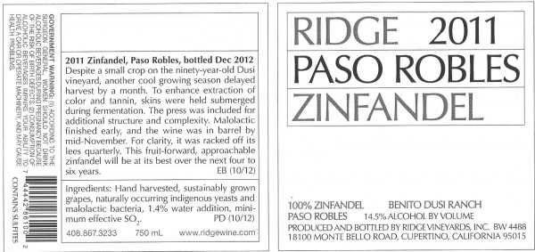 RIDGE LABEL