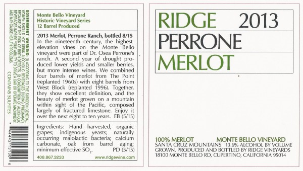RIDGE 2013 MERLOT PERRONE