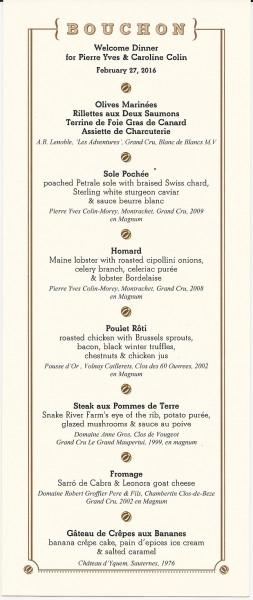 Bouchon menu