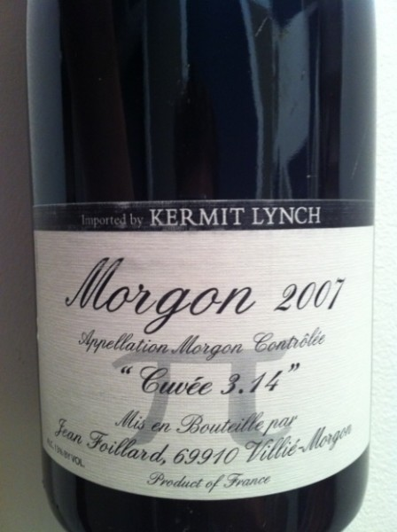 2007 Foillard Morgon cuvee 3.14