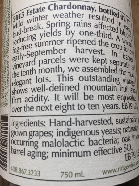 ridge ingredients label