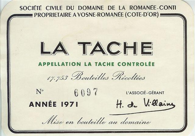 1971 Domaine de la Romanée Conti La Tache