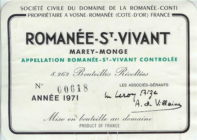 1971 Domaine de la Romanée Conti Romanée St. Vivant (magnum)