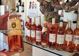 bottles of french rose wine