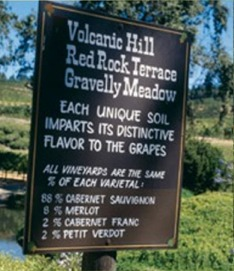 diamond creek sign with grape varieties